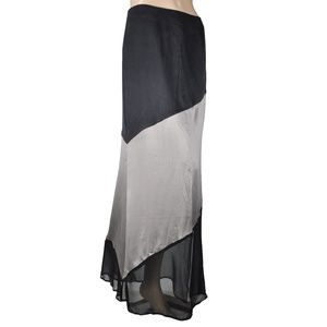 Line & Dot Sheer Striped Black Gray Maxi Skirt
